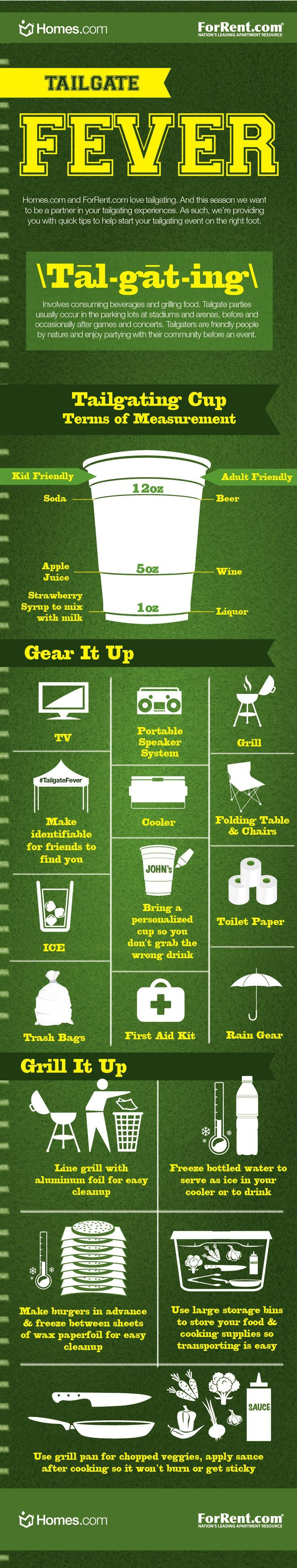 Tailgating Infographic of fun prep and grilling tips! See you at the game! #tailgating #ForRent.com #Homes.com #tailgatingtips #football #concerts #tailgate #grilling http://blog.forrent.com/apt_life/tailgatefever-infographic