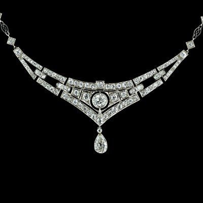 1920s art deco diamond and platinum necklace -  total diamond weight 5 carats