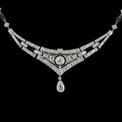 1920s art deco diamond and platinum necklace -  total diamond weight 5 carats