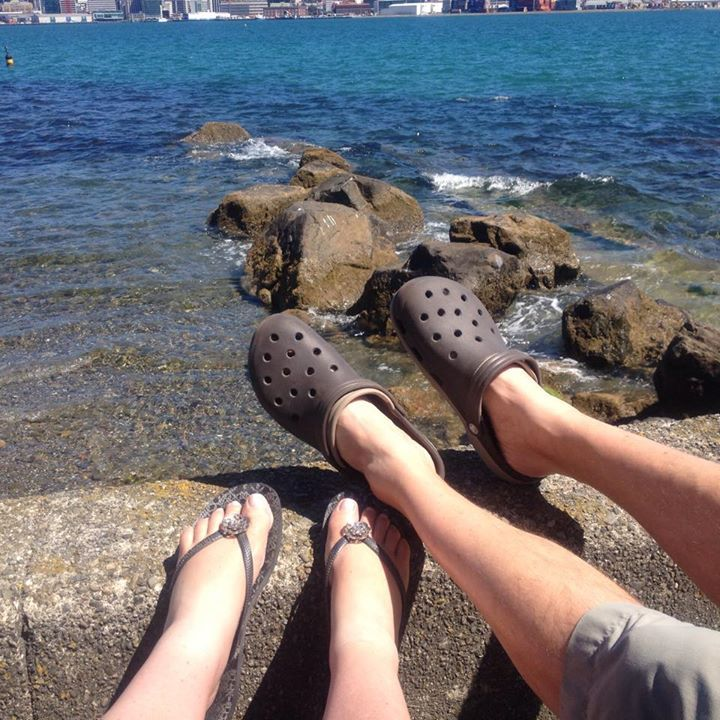 Debra Lithgow - Shoe selfie — with Simon Noake at Oriental Bay.