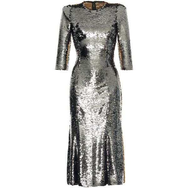 Dolce & Gabbana     Bicolor Paillet Dress ($4,995) ❤ liked on Polyvore featuring dresses, metallic, sequin dresses, evening dresses, evening cocktail dresses, holiday dresses and metallic cocktail dress