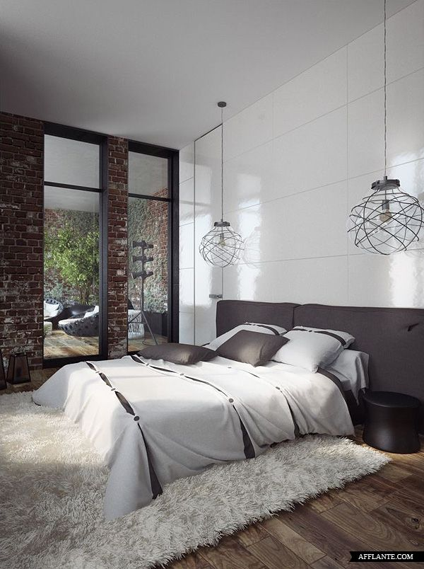 Bedroom Plain Wall Minimalist Concept Bedrooms Brick Wall Interiors Design Minimalist Bedrooms Beds
