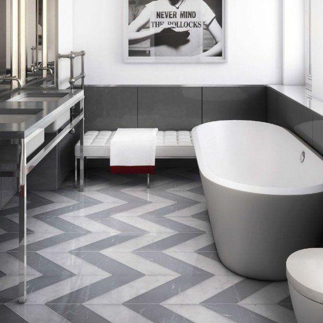 design salle de bains moderne grise avec sol à chevrons