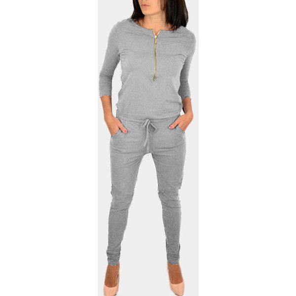 Yoins Grey Zipper 3/4 Length Sleeves Drawstring Waist Jumpsuit ($25) ❤ liked on Polyvore featuring jumpsuits, grey, zipper jumpsuit, gray jumpsuit, grey jumpsuit, zip jumpsuit and 3 4 sleeve jumpsuit