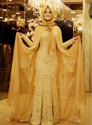 Caped Evening Dress - yellow - Pinar Sems