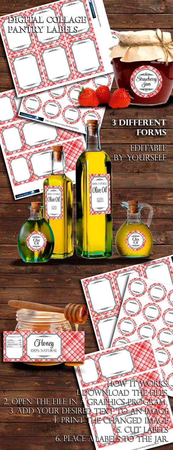 Digital Printabble Pantry Labels. Red Plaid.  3 от MyMidnightMoon