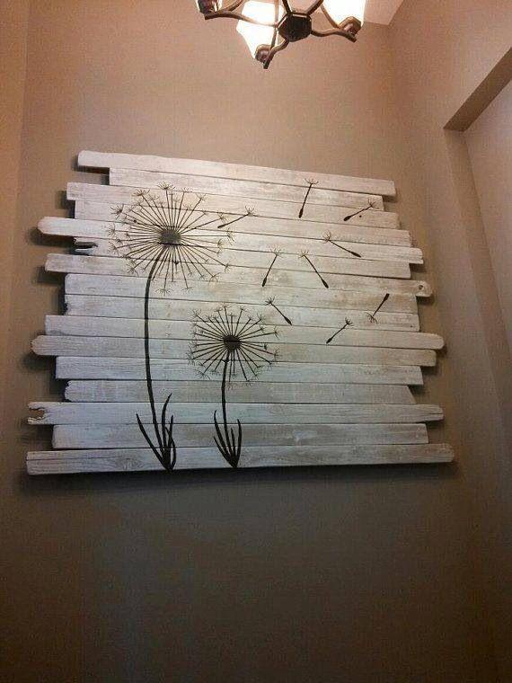 DIY Bois : peinture bois. (Source Inspiremehomedecor sur Etsy). Inspirez vous de cette création pour votre intérieur! Assemblez quelques lames de parement bois Imberty (http://www.imberty.fr/) puis peignez le dessin que vous souhaitez dessus. Une peinture spéciale bois ou multi support (comme un stylo Posca) fonctionne très bien. Créez le dessin de votre choix pour un intérieur unique. #diy #bois #tableau