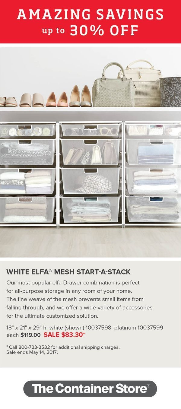 Start doing the Happy Dance! Our elfa Mesh Start-A-Stacks are 30% off! Don't you just love Amazing Savings?