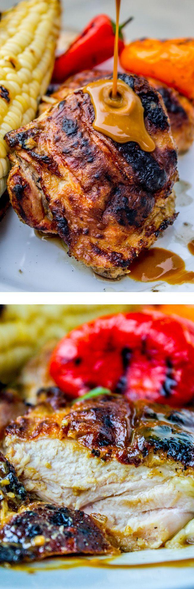 Slow Grilled Mustard Chicken #grilled #chicken #dinner