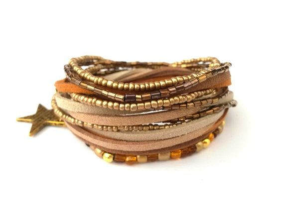 Brown Orange Beige Bracelet Beaded Wrap by AccessoriesByLO on Etsy