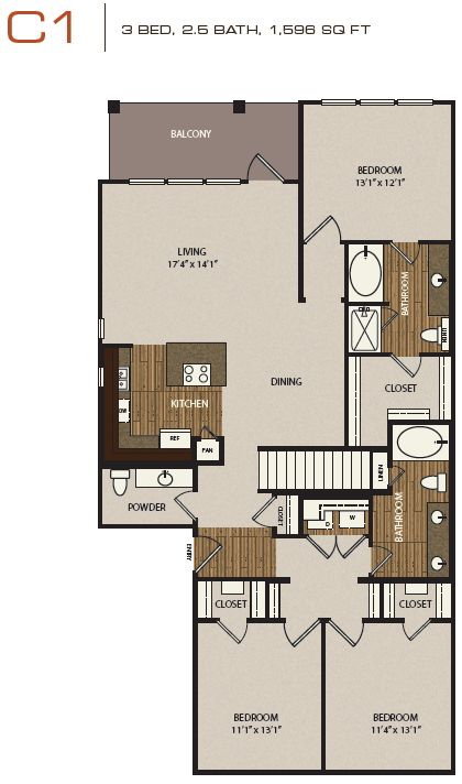 Check out cielo 39 s 3x2 5 this floor plan includes a direct for Apartment homes with attached garage