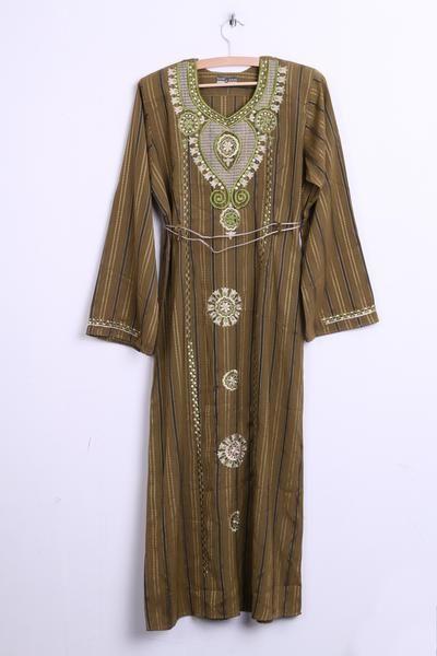 SAAD Womens S Hindu Long Dress Dark Green Striped V Neck - RetrospectClothes