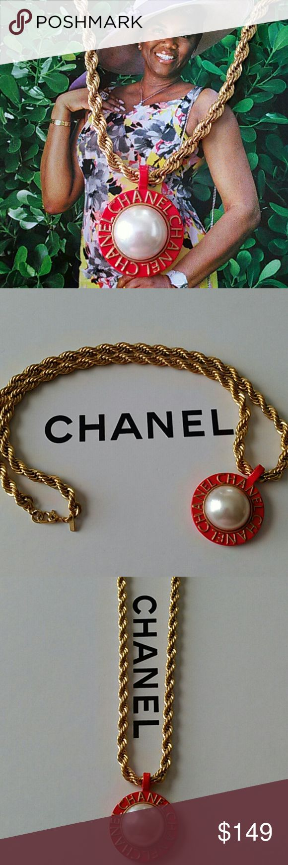 "Vintage CHANEL Pendant Beautiful and in excellent condition!  Vintage Chanel pendant is red and gold with a faux pearl at its center. I placed this on a vintage Monet rope chain, thick and gorgeous! Excellent vintage condition with the length at 18"". Pendant is 1 7/8"" from bail but is 1"" in circumference. CHANEL Jewelry"