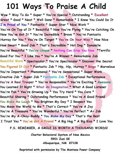 101 Way to Praise A Child Poster: 101 Ways, Teaching Ideas, Children, Child Poster, Praise, Called 101, Kid
