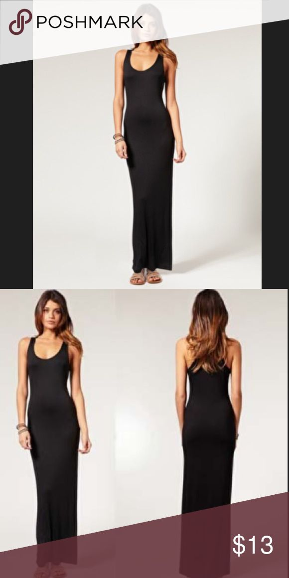 Basic black maxi dress Light weight (not see through) and stretchy material will fit xs-m.  Must have stable to any wardrobe. Can be dressed up or down. Dresses Maxi