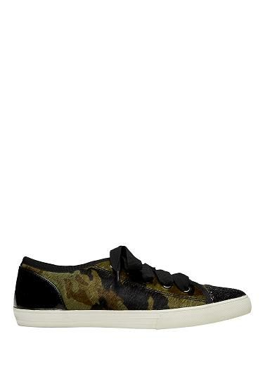 Lace up, camouflage leather print sneaker with metallic toe cap. Leather upper / canvas lining with leather sock and rubber sole. Available in khaki and grey.