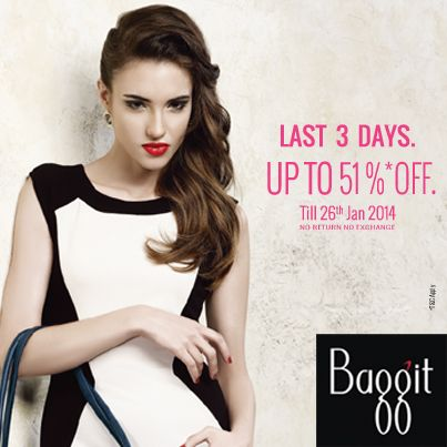Clothing itself is not the only tool to oomph your overall look. Master the art of accessorizing with Baggit's hottest bags, wallets and fashion accessories at a discounted rate. Last 3 days remaining for the great sale at Baggit. Up to 51% off. Stuff so trendy and unique, you must quickly bag one of yours. Available at Exclusive Baggit outlets. Rush to your nearest Baggit store and enjoy the pleasures of retail therapy. Also you can log on to www.baggit.com