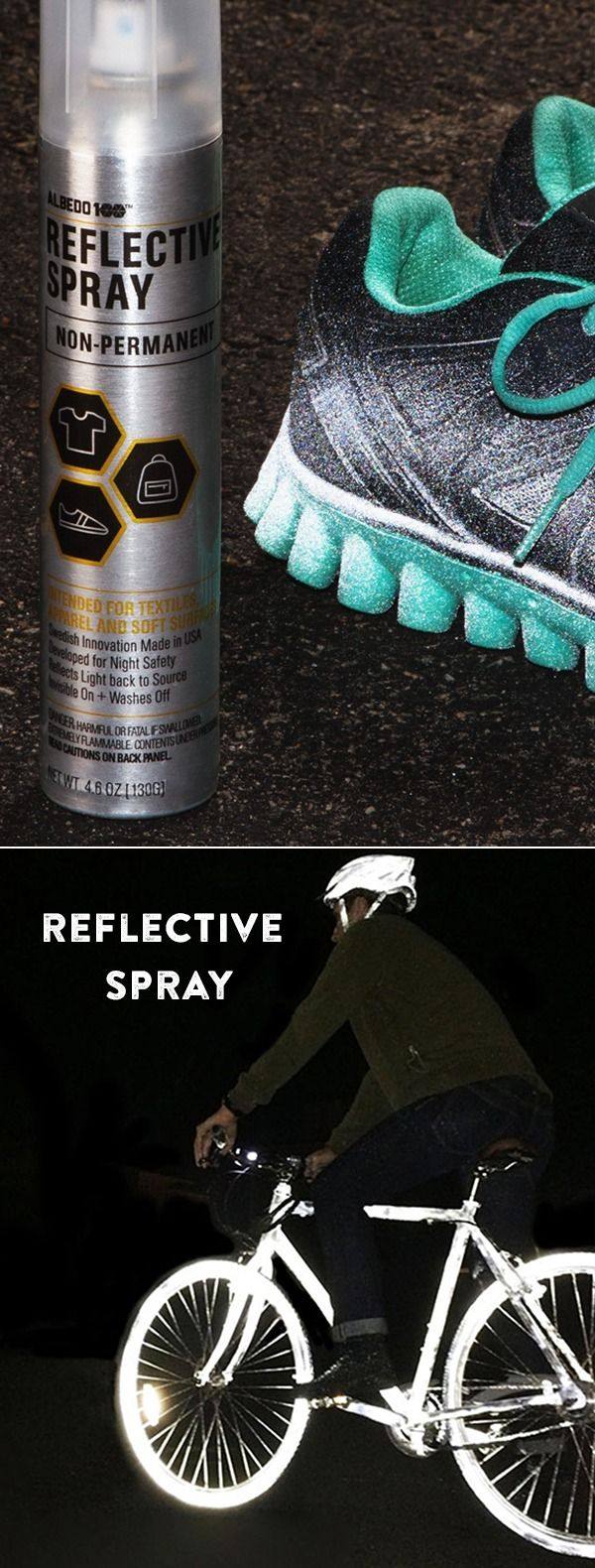 Stay safe and seen at night. Transform clothes and objects into light-reflective surfaces with this nifty spray. It works like magic. Perfect for runners, cyclists, and commuters.