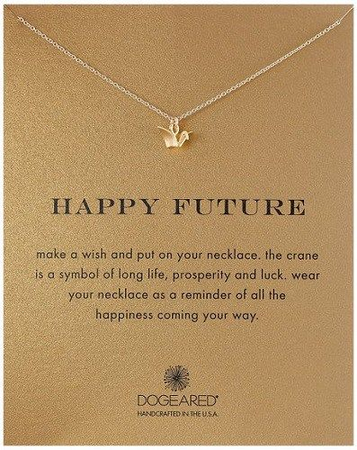 Happy Future Paper Crane Necklace- Graduation gifts for college girls.