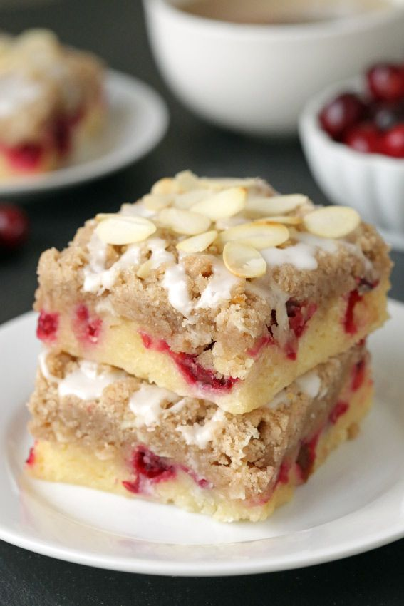 Cranberry bars with streusel and almond icing are extra special holiday dessert. Recipe includes a gluten-free option.