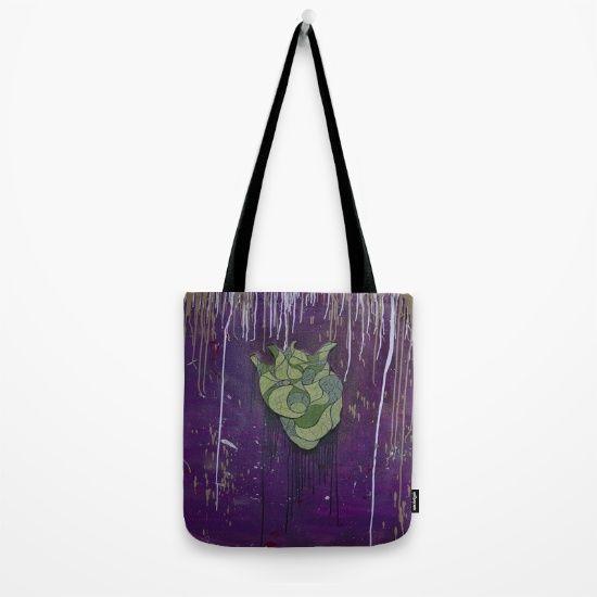 Painting by Wideart, acrylic, spray, purple, heart, green, drips, black,