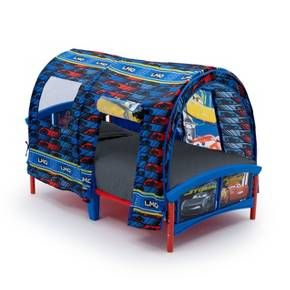Your little speed racer can easily chase their dreams with the Disney/Pixar Cars Toddler Tent Bed by Delta Children. Colorful graphics of Lightning McQueen, Jackson Storm and Cruz Ramirez will let your child's imagination take off! The tent sits above a sturdy toddler bed, with a mesh window and a roll up door on either side.