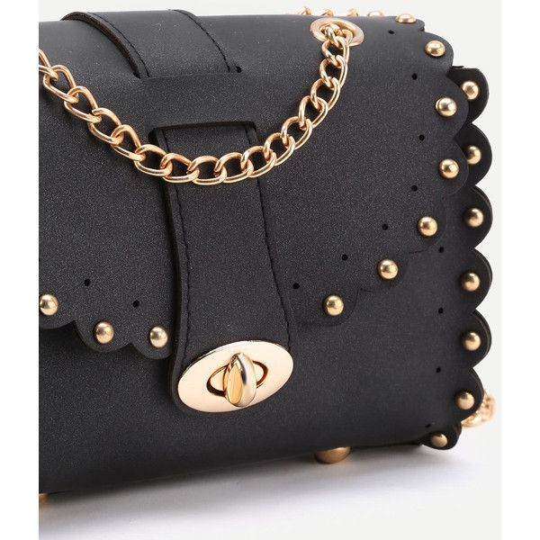 SheIn(sheinside) Studded Detail Scalloped Trim PU Chain Bag (765 MKD) ❤ liked on Polyvore featuring bags, handbags, shoulder bags, chain crossbody, cross-body handbag, crossbody shoulder bag, studded shoulder bag and studded purse