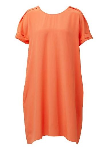 100% Silk crepe dress. Loose A-line silhouette with scoop neckline. Features short sleeve with pleated cuff detail, shoulder detail, back yoke and enclosed side pockets. Available in multiple colours as shown.
