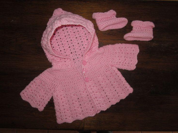 Fiche Patron Crochet Layette 8, Ensemble Jade : Veste à capuche et Chaussons Bébé au crochet : Tutoriels de fabrication par atelier-crochet