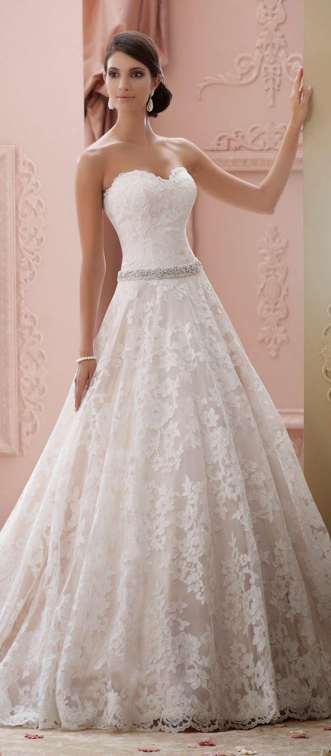 A-Line Wedding Dress | David Tutera for Mon Cheri Spring 2015 Bridal Collection- I love the skirt