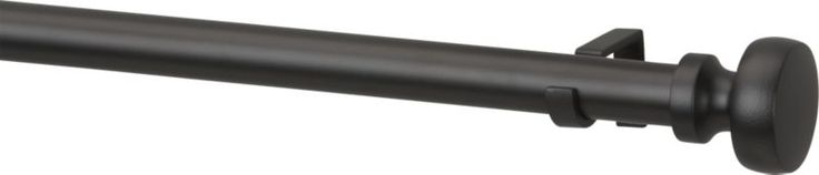 "C & B $90 set. no matching holdbacks. not in store til 10/9. Rorke Black 1.25"" 88""–120"" Curtain Rod Set"
