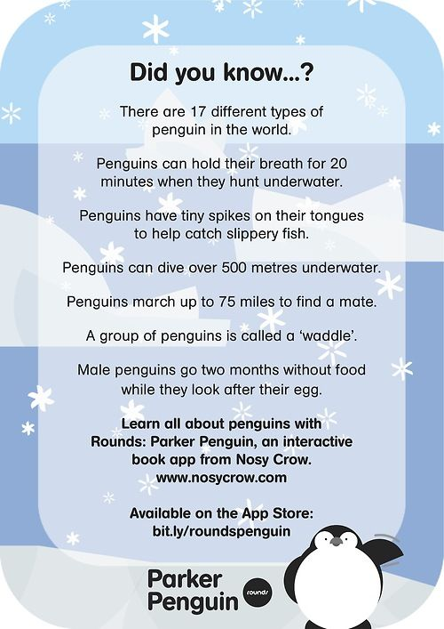 To celebrate Penguin Awareness Day, we're dropping the price of ROUNDS: PARKER PENGUIN all this weekend! Learn all about Parker with our downloadable penguin fact sheet: http://nosycrow.com/blog/celebrate-penguin-awareness-day-with-rounds-parker-penguin