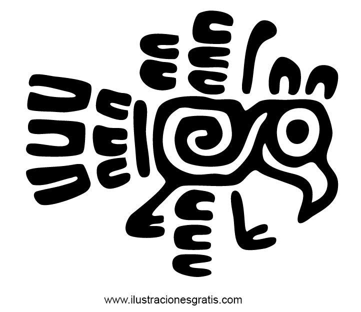 Diseño de un sello de identidad creado en el antiguo arte azteca. El dibujo contiene la forma de un ave con pico, patas, un gran ojo redondo y plumas alrrededor. El increible diseño contiene además una espiral creada con una linea blanca dibujada en el cuerpo del pájaro.