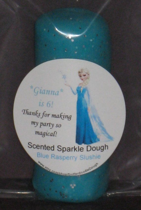 Frozen themed Sparkle and Scented Play Dough, Frozen Party Favor, Scented and Sparkle Play Dough on Etsy, $3.00
