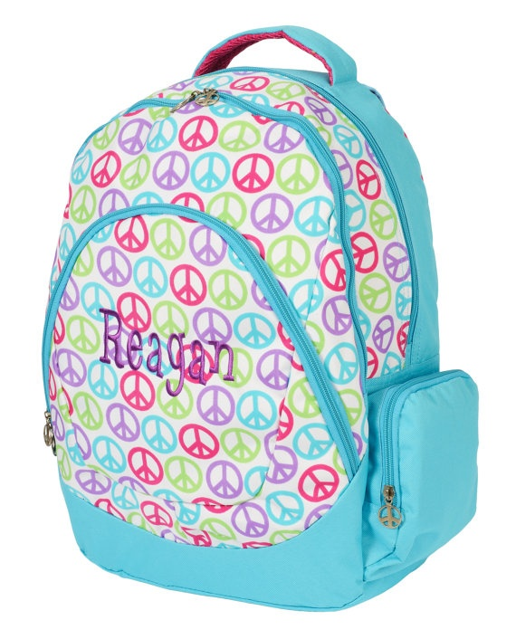 monogrammed peace sign kid u0026 39 s backpack by rebeccasthreads on etsy   29 00