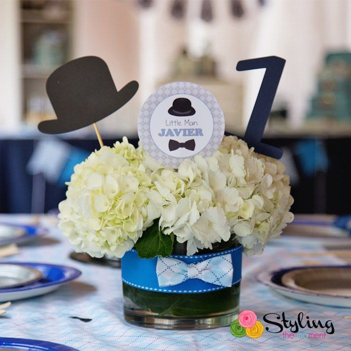 Little Man themed birthday party via Kara's Party Ideas : A centerpiece