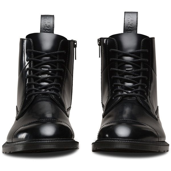 Dr. Martens Leather Winchester Boots ($150) ❤ liked on Polyvore featuring shoes, boots, black, zip boots, slip resistant boots, dr martens boots, zipper boots and black formal shoes