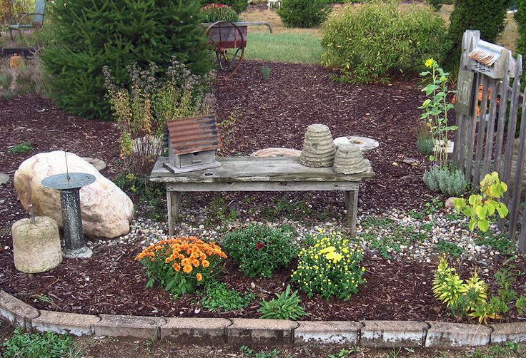 """Garden bench, beeskep, bird house - """"Harvest Time at the Farm 2013"""" Saltbox farm, Howard City, MI. I go as much to see Sharons Farm as I do for the prim and antique shopping."""