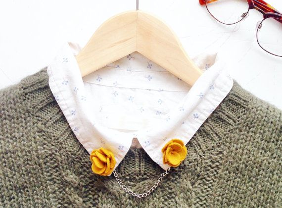 Flower collar pins / mustard yellow collar clips for collared shirts and collared dresses