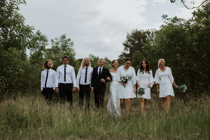 An elegant take on the simple white bridal party style