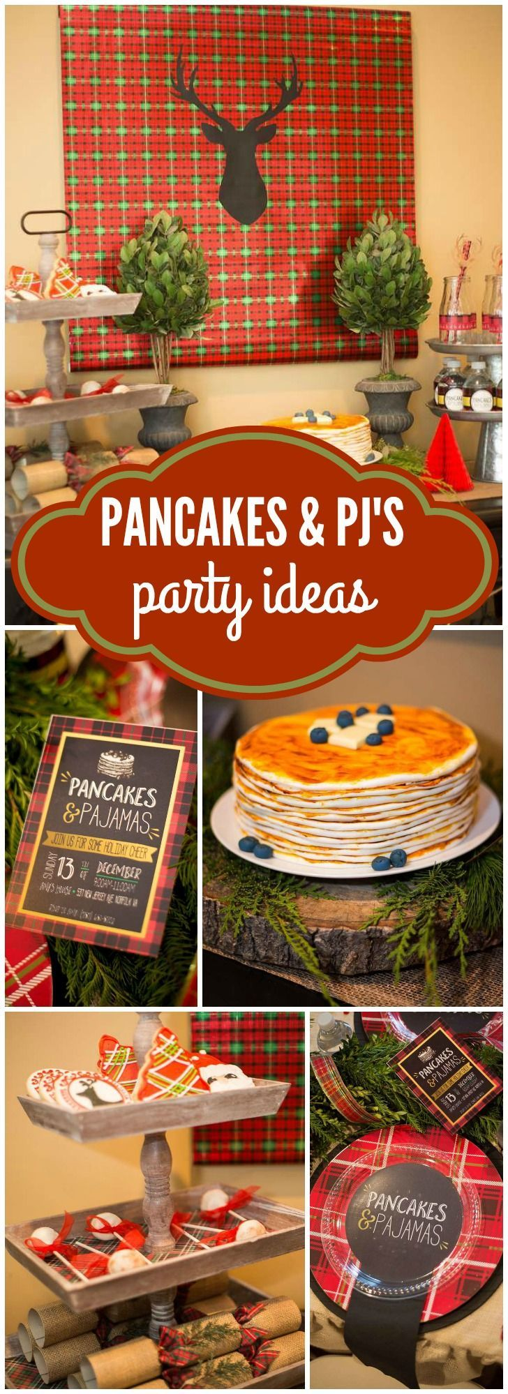 Check Out This Rustic Pancakes And Pajamas Party In Plaid Burlap See More Work Christmas IdeasHoliday