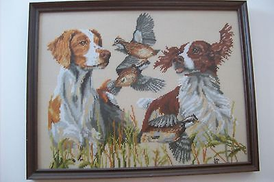 SPRINGER SPANIEL HUNTING DOG QUAIL FIELD COMPLETED CROSS STITCH FRAMED PICTURE