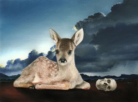 Clare Toms Protector - 2013 Oil on board 40 x 35 cm (framed)