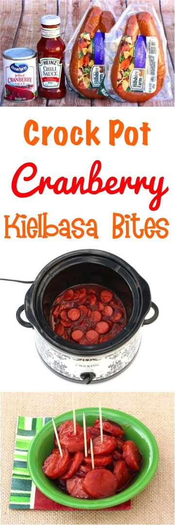 Crockpot Kielbasa Appetizer Recipe!  This easy Cranberry Slow Cooker Recipe is just 3 ingredients and perfect for parties!