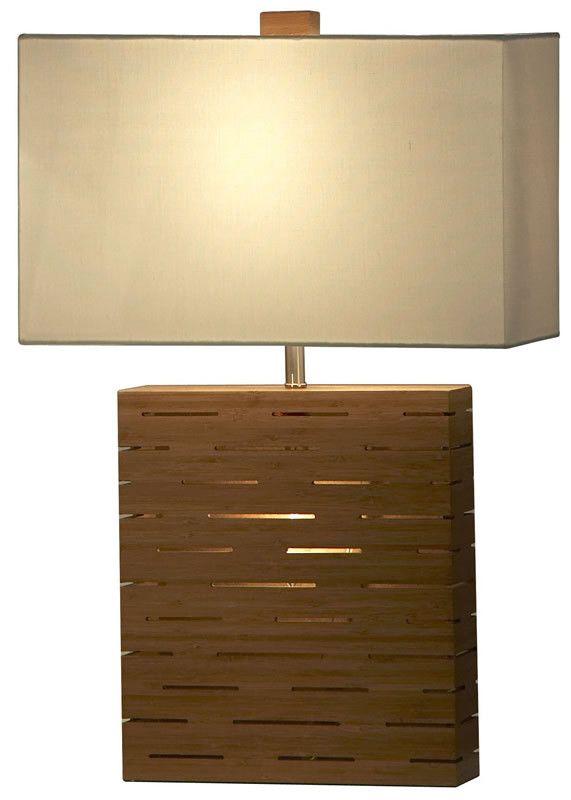 """0-013460>24""""""""h Rift 1-Light 3-Way Table Lamp Medium Bamboo Veneer Laminate"""