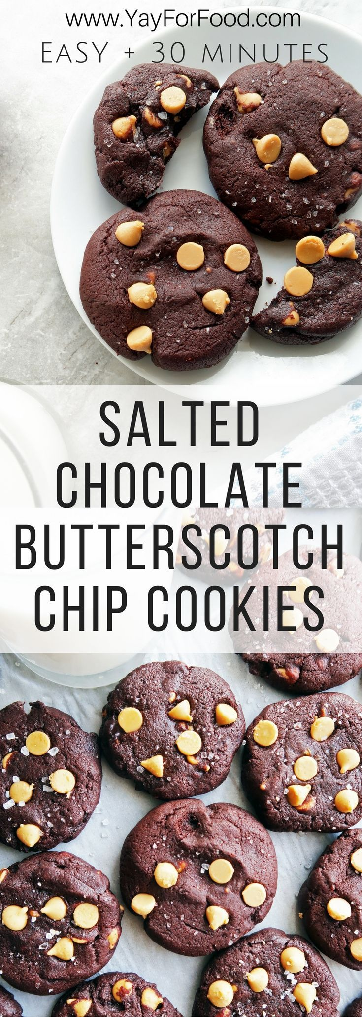 These cookies are soft, thick, buttery, melt-in-your-mouth chocolatey butterscotch goodness. A no-fuss 30 minute cookie recipe that makes 24 sweet treats! Desserts | Cookies | Snacks | Chocolate Cookie | Butterscotch Chip Cookie | Easy Desserts