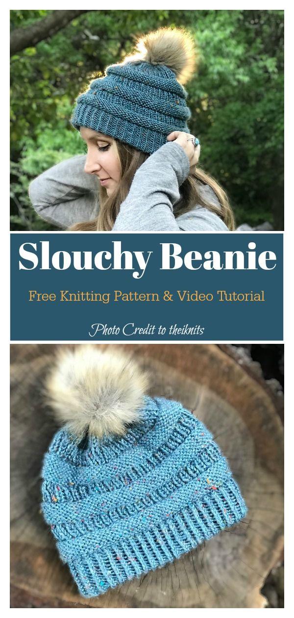 356cd619dbd00 Cat C.C Easy Slouchy Beanie Hat Free Knitting Pattern  freeknittingpattern   freehatpatten  beaniehat