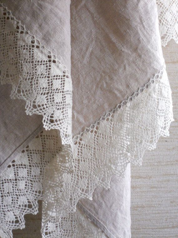 Cream linen bath towel sauna towel washed vintage style linen and lace towel wedding gift