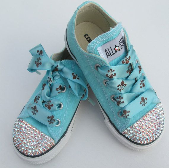 Tiffany blue Converse All Stars with custom blue satin and glitter copper  fleur de lis laces. Converse Low TopsBling ...