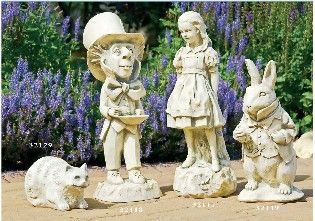 A selection of items for the home and garden from lewis carrols timeless creation gardens for Alice in wonderland garden statues